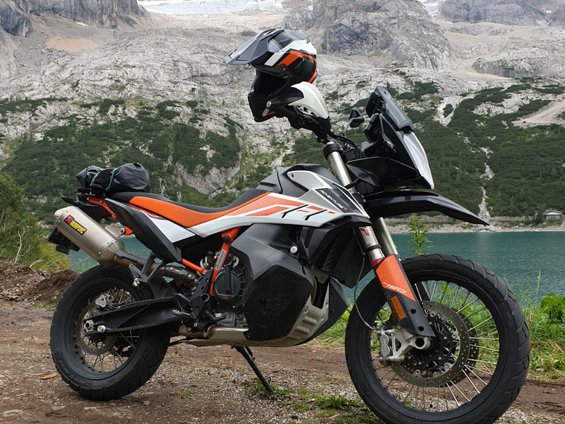 KTM Adventure 790R on the road Marmolata